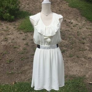 Francesca's Collection white ruffle dress